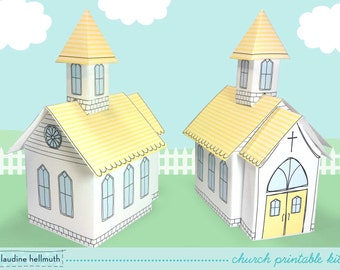 church - favor box for weddings, baptisms, Easter, centerpiece decoration printable PDF kit - INSTANT download