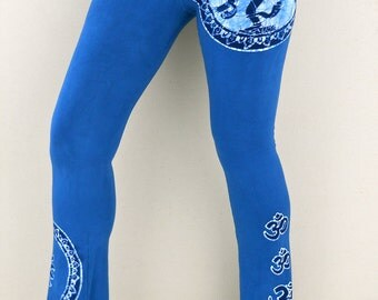 Hand dyed clothing stretchy Yoga pants cobalt blue, womens clothing, Shiva batik wearable art, Gift for her, Festival clothing, Yoga gifts