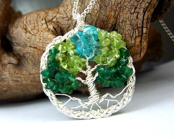 Celtic Knot Tree of Life necklace pendant in silver with chain - Emerald Green Aventurine - Peridot - Aquamarine blue - circle braided braid