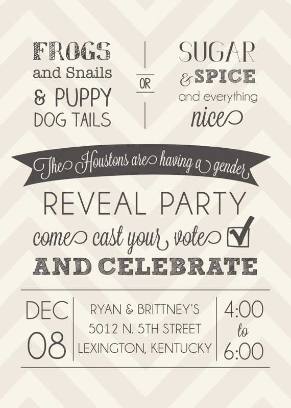 Chevron Gender Reveal Party Invitation (PRINTABLE)