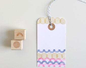 """Arc and Concentric Circles Rubber Stamps (Wood Mounted) Original Geometric Design Set of 2, Mini Duos 1/2"""" size (M4A-4B) Tiny DIY Stamp Set"""