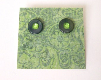 VERDE Post Earrings - Forest Green Vintage Buttons Repurposed into Studs