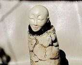 Buddhist Monk - Figurative Sculpture - Decorative Jar - Ceramic Walking Meditation - Zen Buddha - Original Handmade Art