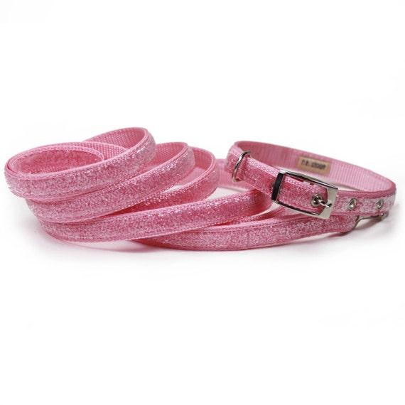 SALE -  light pink sparkle metal buckle dog collar and leash set (1/2 inch)
