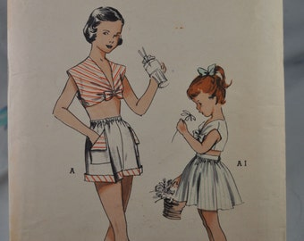 Butterick 5748 - Girls 1950s Crop Top, Shorts, Skirt - Very Rare  Vintage Pattern - Size 10 (Bust 28) - Tween - Teens, Juniors - RARE