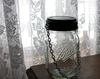 Hanging Mason Jar Solar Light. Set of 4 complete jars and hanging solar lids. Garden lighting sets, solar light set