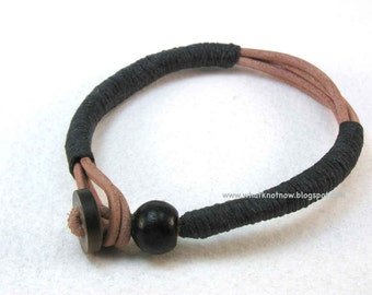 leather cord multi strand bracelet with wood bead wrapped bracelet wood bead bracelet 3021