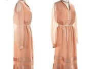 1970s Pleated Formal Dress - Sheer Peach Dream Vintage Cocktail Dress - size Medium