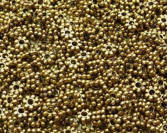 4x1mm (1mm hole) Antique Gold Base Metal Daisy Spacer Beads - Qty 100 (G178)