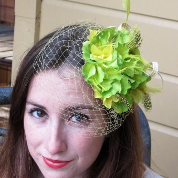 Green Fascinator , apple green fascinator hat, lime green fascinator  with birdcage    APPLE HAT
