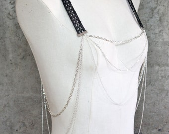 Body harness jewelry - Bretelles - Black or ivory lace with your choice of chain