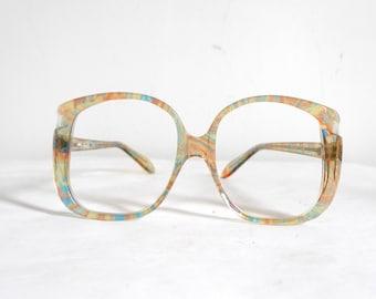 Pastel Frame France Eyeglass Mod Disco Oversized Bug Eye Sorbet Ribbon Sunglass NOS Supermodel Glam Rock Coachella Festival SALE