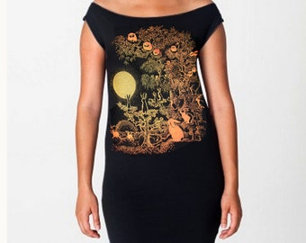 Owls and Jackalopes tshirt dress - eco friendly gold and orange screenprint on black cotton - sizes S, M, L