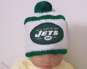 Custom handmade knit NFL New York Jets baby hat cap beanie 0-12M-cute gift photos