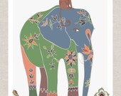 Mama Elephant - Indian Elephant - Quirky Monkey - Jungle Nursery - Kids Room Decor - Colorful Toddler Art