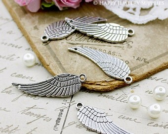 10Pcs 30x9 mm Antiqued Vintage Silver Wing / Feather Charms / Pendants (SG127)