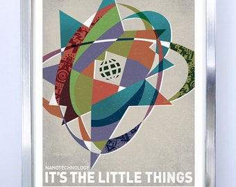 LARGE Nanotechnology Science Poster, Art Print, Original Illustration, Stellar Science Series - Wall Art