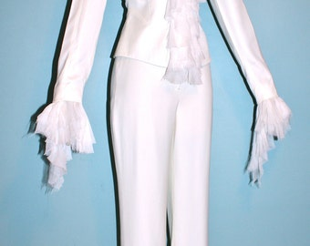 GIANNI VERSACE COUTURE Vintage Suit Creamy White Sheer Chiffon Pant Suit - Authentic -