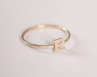 stackable initial ring, monogram ring, dainty ring, letter ring, personalized jewelry - gold filled