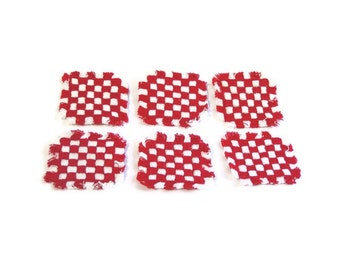 Red and White, Christmas Decoration, Applique, Square, Red White Check, Patch, Lot of 6, 2 Inch Squares, Checked, Mini Potholder