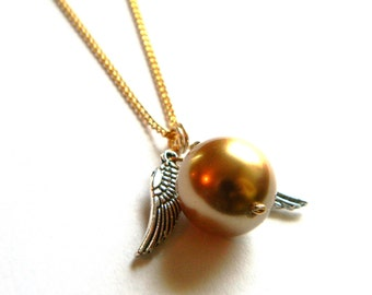 Golden Pearl with Wings Necklace - Swarovski Pearl - Gold - Feathers - Handmade - Gifts Under 10, 20