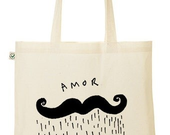 Illustrated Amor Moustache Tote Bag hand printed
