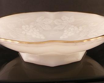 Vintage Anchor Hocking Milk Glass Serving Bowl Compote Footed Gold Trim Grape Motif