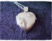 Silver Etched Heart Locket Necklace - Sterling Silver Heart Locket on a Delicate 18 Inch Sterling Silver Cable Chain