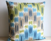 Blue and Green Ikat Pillow Cover - 16 x 16 Ikat Cushion Cover - Ikat Zigzag Lush