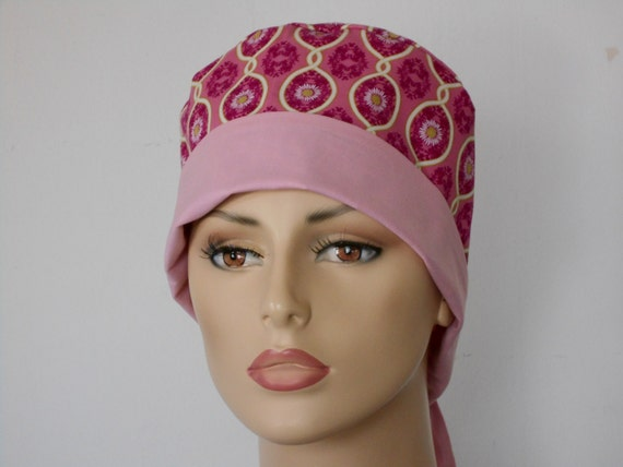 Scrub Hat Surgical Pixie Style - Pink Daisy Passion with Contrasting Pink Headband LAST ONE