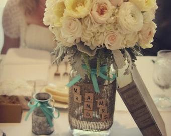 Vintage Wedding, Wedding Burlap Mason Jar, Centerpiece Jars, Alice in wonderland, Bridal Shower, Decorations, Gifts under 50 by HeatherVinta