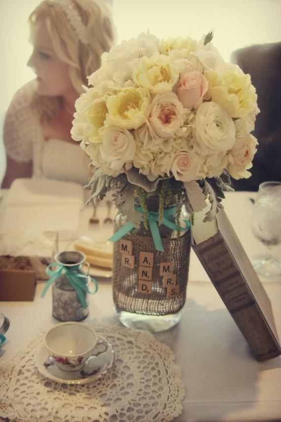 Items similar to Vintage Wedding, Wedding Burlap Mason Jar ...  Items similar t...