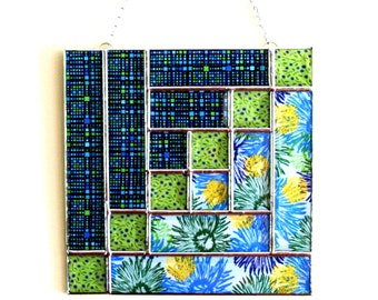 Not Your Grandma's Quilt Yellow and Blue Fabric Stained Glass Beveled Quilt Panel