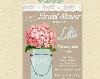 Pink Hydrangea - Lace Mason Jar Invitation - Bridal / Wedding Shower Invite - Country