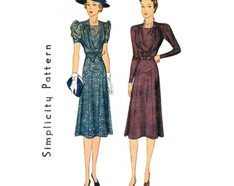 1930s Dress Pattern Bust 42 Simplicity 3099 Day or Evening Dress Shirred Bodice Gored Flared Skirt Skirt Womens Vintage Sewing Pattern