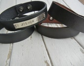 "3/4"" Leather Cuff Bracelet - DARK BROWN -  Genuine Leather Cuff Bracelet - Cuff Wristband - ONE Cuff Blank - Hand Stamped Jewelry Supply"