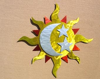 Sun Art Outdoor Metal Wall Art Sculpture Large Sun Moon Stars
