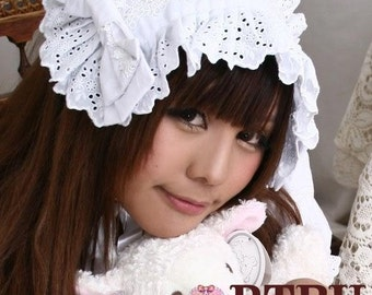 SALE 12.00 Japan Sweet Lolita Maid Cosplay Frill Bonnet Headress White