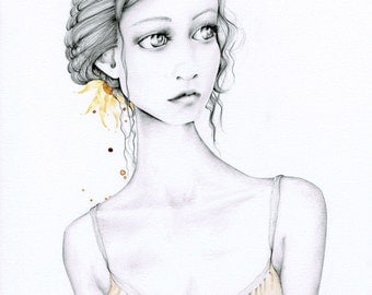 Original Drawing Illustration of a Girl Fine Art Home Decor Gift for Her  One of a Kind Work of Art for your Home Hand Drawn Pencil Drawing