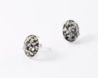 Rough crystal studs sterling silver pyrite stud raw gemstone stud earring, rough stone earrings pyrite earrings