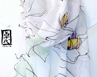 Hand Painted Silk Scarf, White Magnolia Scarf, White Silk Scarf, Large Silk Scarf, Silk Chiffon Scarf,  Approx 13x69 inches. Made to order.