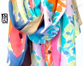 Hand Painted Large Silk Shawl, Spring Wildflowers Multicolor Floral Scarf, Large Silk Evening Wrap. 35x84 inches. 100% Silk.