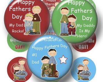 Fathers Day, Bottle Cap Images, Digital Collage Sheet, 1 Inch Circles, Dad, Instant Download, Father and Son, Printable, Clip Art (1a)
