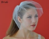 10 INCH TULLE BIRDCAGE Blusher Veil In White, Diamond White, or Ivory for wedding bridal headpiece accessory