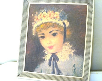 Vintage Art - Big Eyed Girl - Victorian Child Portrait - Framed Lithograph - 1960's - Retro Victorian Child