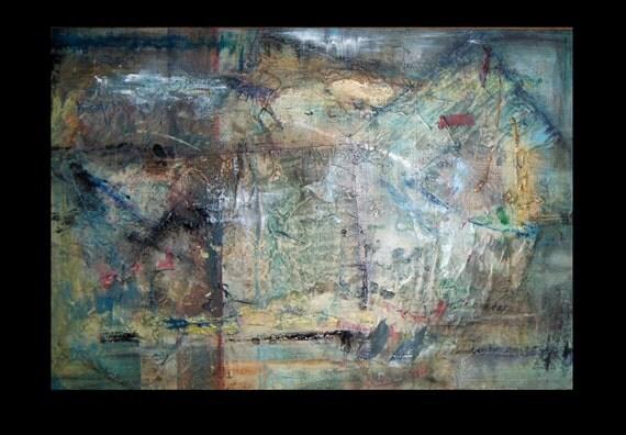 Original Abstract  Mixed Media Acrylic Painting Secret Letter Box 2012 20x30x1