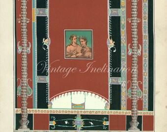 SALE item, Antique Vintage POMPEII MURAL Paintings 1 1890 Chromolithograph, design patterns 1800s art color lithograph