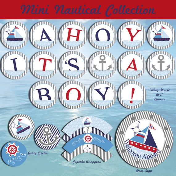 Ahoy It's A Boy Baby Shower Party Package-Nautical Baby Shower Party Package-Sailboat Baby Shower Package-INSTANT DOWNLOAD