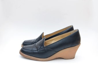 Vintage platform black leather women slip on wedges