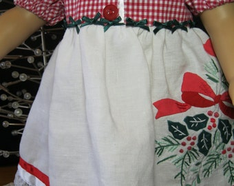 "Buttons and Bows Christmas dress for 18"" dolls like American Girl, embroidered linens,satin bows and ribbons,ruffles,gingham"